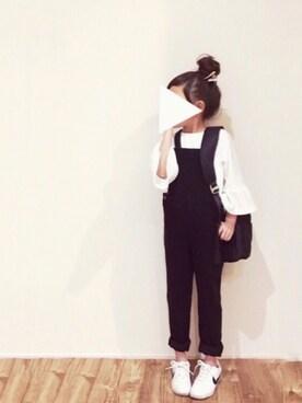 cyamu(͒⑅′࿉‵⑅)͒ෆ*さんのTシャツ/カットソー「袖フレア長袖Tシャツ(petit main|プティマイン)」を使ったコーディネート