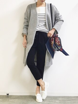「ノーカラーVネックボンディングコート(STYLE DELI)」 using this STYLE DELI|Emi Kinjo looks