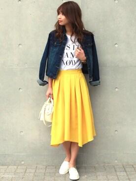 「キレイ色イレヘムギャザーフレアスカート(STYLE DELI)」 using this STYLE DELI|Emi Kinjo looks