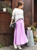 Emi Kinjoさんの「キレイ色ロングギャザーフレアスカート(STYLE DELI|スタイルデリ)」を使ったコーディネート