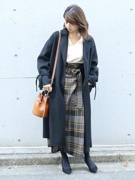 Spick & Span 本社|yumiさんの「チェックオーバータックロングタイトスカート◆(Spick and Span Noble)」を使ったコーディネート