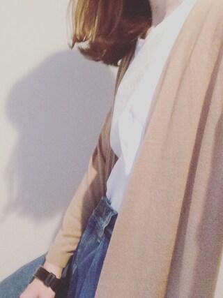 maさんの「・20/-OE天竺ポケット付きVネックTシャツ(E hyphen world gallery|イーハイフンワールドギャラリー)」を使ったコーディネート