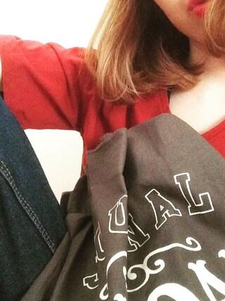 maさんの「16/-OE天竺ポケット付きVネックTシャツ(E hyphen world gallery|イーハイフンワールドギャラリー)」を使ったコーディネート