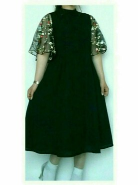 maho.さんの「花刺繍レーススリーブワンピース5949(merlot plus|メルロープリュス)」を使ったコーディネート