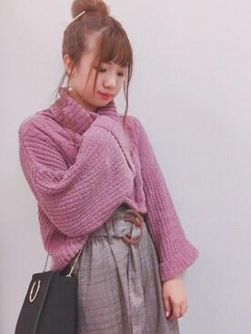 natural couture|miura kanamiさんの「べっ甲ベルトチェックPT(natural couture)」を使ったコーディネート