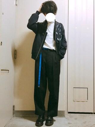 れぽすけさんの「七宝柄プリントボンバージャケット(COMME CA ISM コムサイズム)」を使ったコーディネート