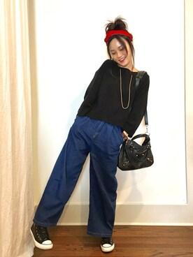 「フロントタックロング丈デニムワイドパンツ(coca)」 using this SAIKO looks