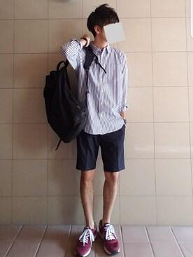 junさんの「・40/_ストライプ ビッグシルエットシャツ(SEVENDAYS=SUNDAY)」を使ったコーディネート