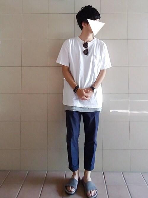 junさんの「Champion/チャンピオン T1011 ポケットTシャツ MADE IN USA(FREAK'S STORE)」を使ったコーディネート