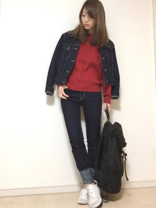 EBIさんの「WOMEN コットンカシミヤケーブルセーター(長袖)(ユニクロ)」を使ったコーディネート