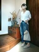MARI☪ co.さんの「手織りジャガード巾着(ADAM ET ROPE'|アダム エ ロペ)」を使ったコーディネート