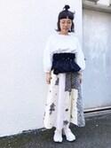 marumarukaさんの「cdc ◇バルコニーのお花 リメイク風 スカート◇(chambre de charme|シャンブルドゥシャーム)」を使ったコーディネート