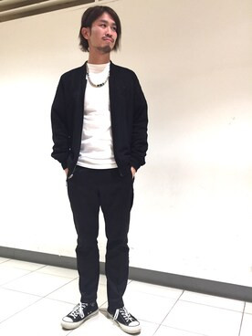 FREAKS STORE 横浜店|イナバヒデヒコさんのブルゾン「リバーシブル サテンスカジャン(FREAK'S STORE|フリークスストア)」を使ったコーディネート