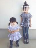 ichi & nanoさんの「後ろリボン付きギンガムチェックノースリーブチュニック(petit main|プティマイン)」を使ったコーディネート