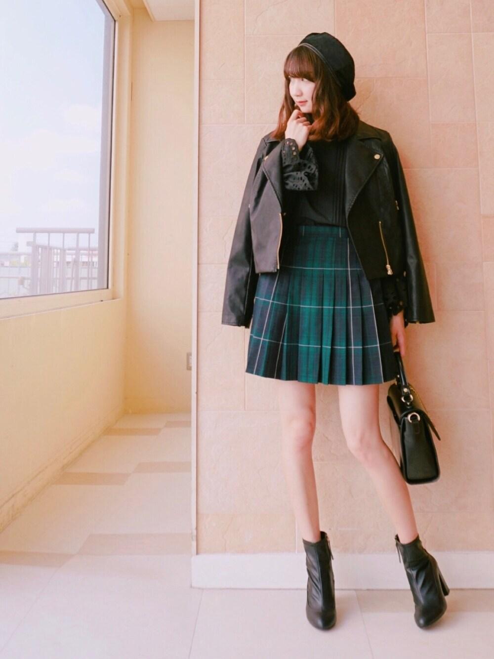 緑チェック×プリーツスカート♡