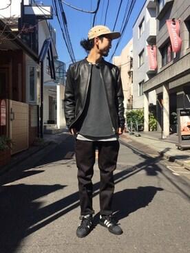 FREAKS STORE 原宿店|IIIZUMIさんのライダースジャケット「ゴートレザー シングルライダースジャケット -2017SS-(FREAK'S STORE|フリークスストア)」を使ったコーディネート