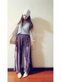 shuraさんの「WOMEN コットンカシミヤクリケットセーター(長袖)(ユニクロ|ユニクロ)」を使ったコーディネート