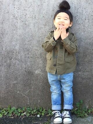 hanamen♡さんの「ミリタリージャケット(petit main|プティマイン)」を使ったコーディネート