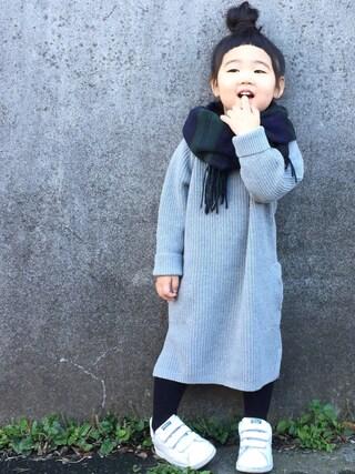 hanamen♡さんの「日本製 16色展開 ウールタッチ タータンチェック マフラー(ROOPTOKYO|ループトウキョウ)」を使ったコーディネート
