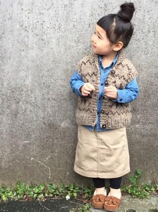 hanamen♡さんの「シンプルデニム長袖シャツ(petit main|プティマイン)」を使ったコーディネート