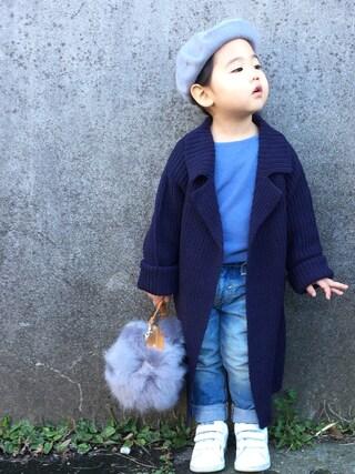 hanamen♡さんの「ロングニットカーディガン(BRANSHES|ブランシェス)」を使ったコーディネート