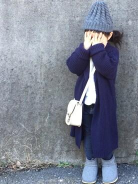 hanamen♡さんの「ロングニットカーディガン(BRANSHES ブランシェス)」を使ったコーディネート