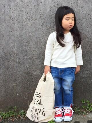 hanamen♡さんの「ラグランスリーブ9分袖ベーシックTシャツ(b・ROOM|ビールーム)」を使ったコーディネート