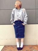 キサキさんの「フリンジデニムペンシルスカート(PUNYUS|PUNYUS)」を使ったコーディネート