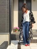 AOmomさんの「花柄プリントワイドスリーブワンピース(ViS|ニコアンド)」を使ったコーディネート