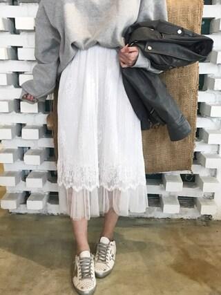 HOTPINGさんの「フラワーレースチュールスカート(hotping|hotping)」を使ったコーディネート