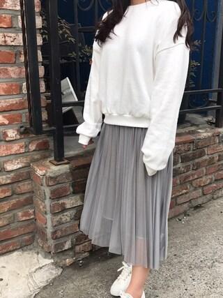 HOTPINGさんの「ウエストゴムグリッタープリーツスカート(hotping|hotping)」を使ったコーディネート