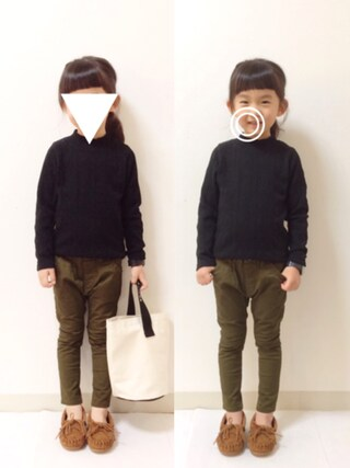 kannn さんの「ジャガードハイネック長袖Tシャツ(petit main|プティマイン)」を使ったコーディネート