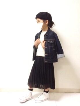 kannn さんのスカート「【キッズ】シフォンプリーツロングスカート/738955(GLOBAL WORK|グローバルワーク)」を使ったコーディネート