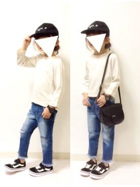kannn さんのTシャツ/カットソー「フリル付き8分袖Tシャツ(petit main|プティマイン)」を使ったコーディネート