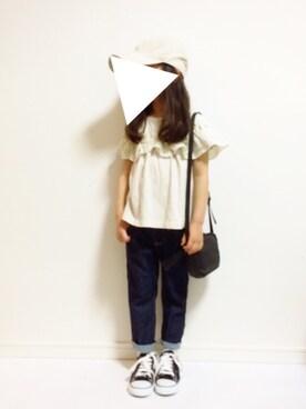 kannn さんのTシャツ/カットソー「ラウンドフリルT(80〜140cm)(Granny Branket|グラニーブランケット)」を使ったコーディネート