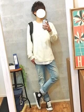 「WEGO/ロングワッフルTシャツ(WEGO)」 using this gaku looks