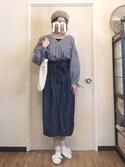 ma-chiさんの「ギンガムバルーン袖トップス4879(merlot|メルロー)」を使ったコーディネート