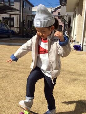 coenオフィス coen_kidsさんのナイロンジャケット「【coen キッズ】撥水パーカー (100〜150cm)(coen コーエン)」を使ったコーディネート