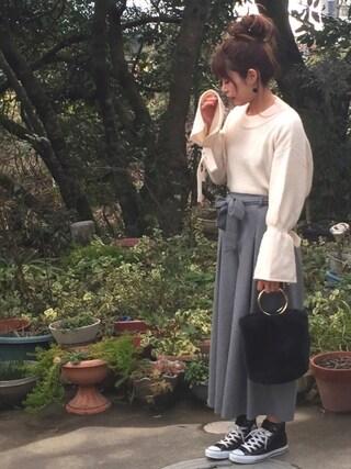 miiさんの「お袖リボンにトキメキPO【長袖・PO】(AS KNOW AS PINKY|アズノゥアズピンキー)」を使ったコーディネート
