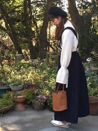 miiさんの「バスクベレー帽(Discoat Parisien WOMENS|ディスコートパリシアンウィメンズ)」を使ったコーディネート