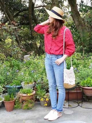 miiさんの「刺繍開襟シャツ(Discoat Parisien WOMENS|ディスコートパリシアン)」を使ったコーディネート