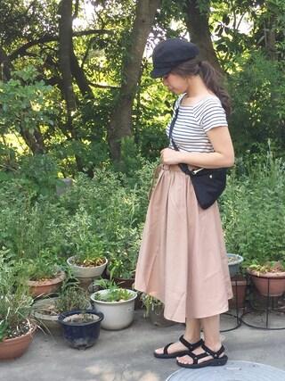 miiさんの「イレギュラーヘムベルト付スカート(Green Parks|グリーンパークス)」を使ったコーディネート