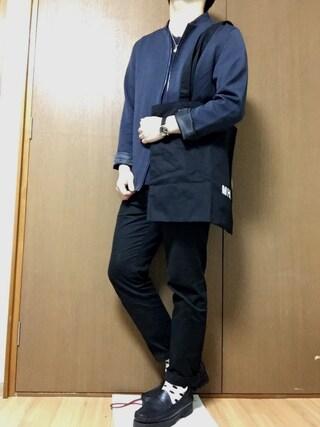 dai7さんの「2017SS T/R ノーカラー ジャケット MA-1(MONO-MART|モノマート)」を使ったコーディネート