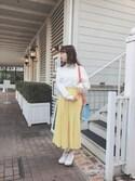斎藤みらいさんの「バイカラーショルダーBAG(merry jenny|メリージェニー)」を使ったコーディネート