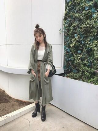 斎藤みらいさんの「レースプリントタイトスカート(lilLilly|リルリリー)」を使ったコーディネート