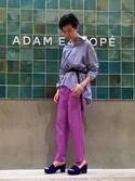 MOMOKOさんの「バックオープンカラーシャツ(ADAM ET ROPE' アダム エ ロペ)」を使ったコーディネート