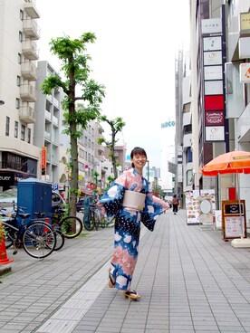 キモノグラースさんの「ツモリチサト浴衣(TSUMORI CHISATO)」を使ったコーディネート