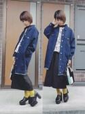 megさんの「MEN ファインクロスストレッチスリムフィットブロードシャツ(長袖)(ユニクロ|ユニクロ)」を使ったコーディネート