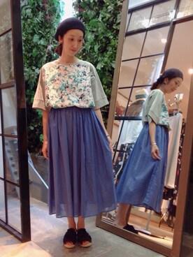 actuel 池袋esola店|takako☺︎さんの「コットンボイルギャザースカート(actuel)」を使ったコーディネート
