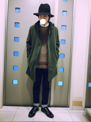 「SELVAGE 825TAPER デニム(green label relaxing)」 using this kaki looks